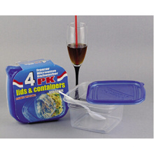 Sqaure Plastik nehmen weg Microwavable Nahrungsmittelbehälter 34oz