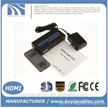 Переходника конвертера переключателя переключателя HDMI высокого качества металлический Переходника конвертера переключателя 3x1 Поддержка аудио HDMI 1.3 3D видео 720p 1080i 1080p