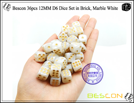 Bescon 36pcs 12MM D6 Dice Set in Brick, Marble White-4