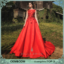Beaded sweetheart patterns red women evening dress long frocks designs satin party wear gowns for ladies
