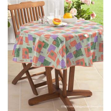 LFGB Fancy Hotel Wedding Decorative Round PVC Printed Tablecloth with Backing