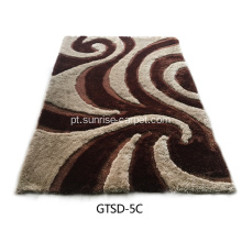 Elastic and Silk Mix Shaggy Rug 3D Design