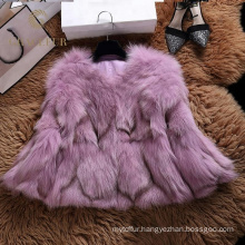 Fashion stylish real fox fur coat jacket winter for girls red coat