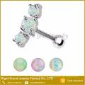 316L Surgical Steel Jeweled Ear Helix Cartilage Three Opal Ear Tragus