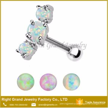 Acero quirúrgico 316L Jeweled Ear Helix Cartilage Three Opal Ear Tragus