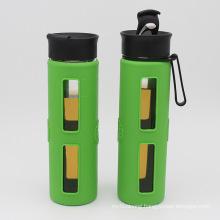 Single Wall Glass Water Bottle with Flip Cap