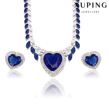 Fashion Luxury Rhodium Heart-Shaped CZ Diamond Jewelry Set for Wedding 62362