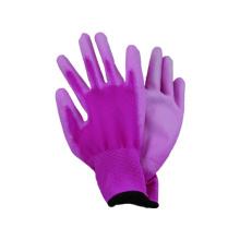 13G tejido guante de poliester sin costura con PU recubierto