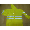 Yj-6050 Fluorescent Green PU Motorcycle Rain Gear Jacket Coat Rainwear