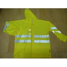 Yj-6050 Fluoreszierende grüne PU Motorrad Regen Gear Jacke Mantel Regenbekleidung