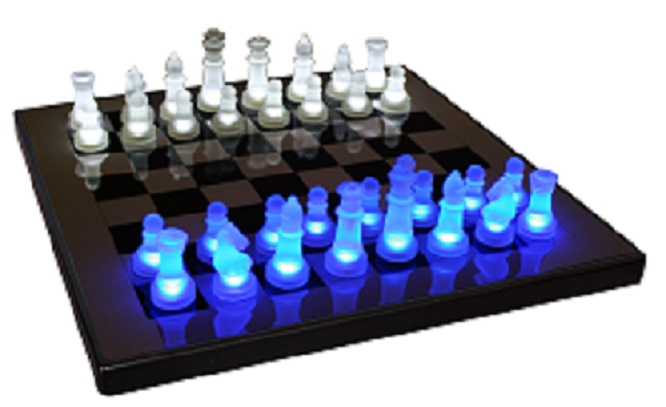 LED Chess, LED Glow Chess Set, Chess Set, Glass Chess Set