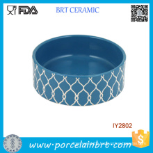 Striped Embossed Design Ceramic Pet Bowl Pet Accessories
