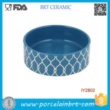 Gestreifte geprägte Design Keramik Pet Bowl Pet Zubehör