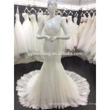 Guangzhou fábrica Deep V-cuello sin mangas ver a través de encaje de vuelta Appliqued Bling rebordeado sexy Mermaid Alibaba vestido de novia 2016