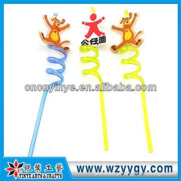 rolha de borracha figura canudo plástico de pvc dos desenhos animados