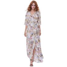 Kate Kasin Sexy Women's Summer 3/4 Sleeve V-Neck Tie-Waist Split Chiffon Maxi Dress KK000702-2