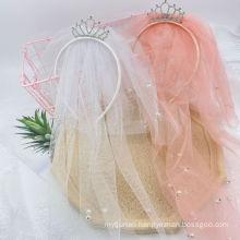 Tiara Veil Festival Hair Accessories Princess Sweet Headband Korean Handmade Gift Hairdband Crown for Kids Girl Children's Party