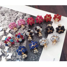 Горячая верхняя модная одиночная искусственная диаманта и цветок double sided серьга