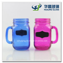 450ml Blue and Rose Color Glass Mason Drinking Jars with Handle