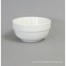 Cuenco de arroz de cerámica borde redondo alto blanco