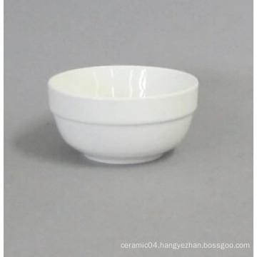 ceramic rice bowl round edge high white