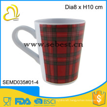 hot sale tartan design print custom melamine mugs