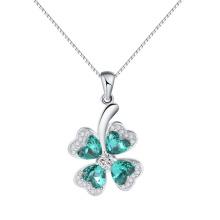Hermoso elemento de cristal de Austria afortunado cuatro hojas colgante de trébol