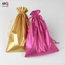 Saco de cetim com cordão requintado para embalagem de jóias