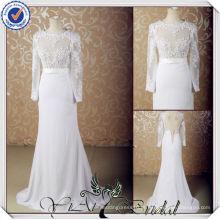 JJ3610 Lace buraco da fechadura ver através de corset laço bodice casamento vestido sereia manga longa