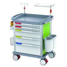 Hospital Clinic ICU ABS Medical Emergency Nursing Drug Trolley with Defibrillator