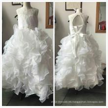2017 recién llegado de novia sin mangas vestido de bola de tul de una pieza niñas vestido de fiesta vestido de cumpleaños 1 año de edad niña