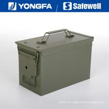 . 50 caixa de munição de caixa de bala de metal cal para seguro de arma