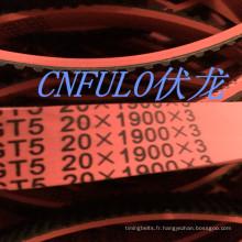 Revêtement en caoutchouc, Timing Belt, couleur rouge, T5-1900
