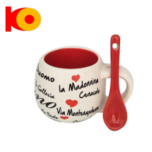 New Design Round Decal Ceramic Mug With Red Spoon