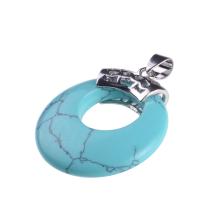 El nuevo collar redondo colgante de piedra de la turquesa de la forma llega para las mujeres