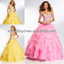 HE2098 Bright yellow sparkly beaded patters top sweetheart neck ball gown corset back long ruffled organza petal ball gown