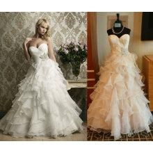 Ruffles vestido de novia de la parte inferior con cinturón