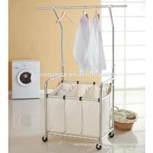 cesto de roupa de alta qualidade com cabide para elevador e classificador de lavandaria com barra suspensa para elevador,