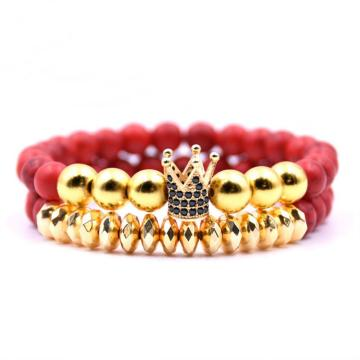 2PCS / Set Fake Gold Charm 8MM Rojo Turquesa Pulsera