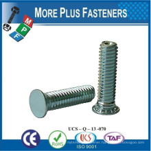 Made In Taiwan Flush Head Self Clinching Stud Brass Material Stainless Steel or Carbon Steel Zinc Plated