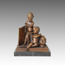 Desnudo Figura Estatua Niños / Niños Escultura de Bronce TPE-117