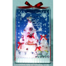 HOT! Xmas White Fiber Optical box Tree Santa claus