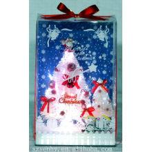 QUENTE! Xmas Branco Fibra Óptica Caixa Árvore Papai Noel