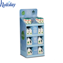 Plate Body Wash Shampoo Floor Display Stand, Tiendas prácticas Retail Cardboard Floor Shampoo Display