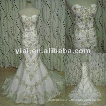 JJ2656 золотой вышивкой русалка свадебное платье 2014