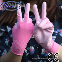 NMSAFETY 13 gauge pink polyester palm coated white pu glove (nylon available)