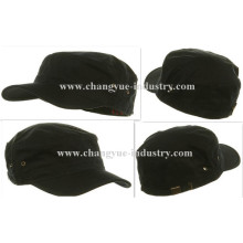 Cotton black plain custom fitted flat-top military cap
