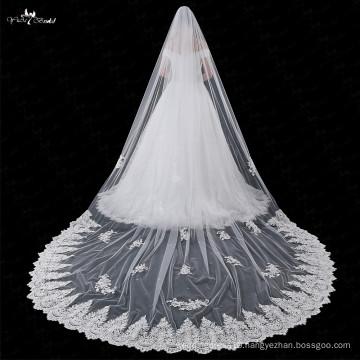 LZP029 Pteris Artificial Flower Crystal Applique Long Wedding Veil