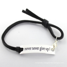 Fashion Engraved Never Never Give up Metal Sheet Leather Bracelet
