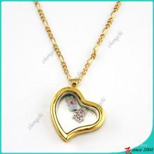 Médaillons en verre paresseux de coeur d'or pour des accessoires de mode (FL16040834)